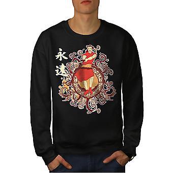 Japon Folklore Fashion Men BlackSweatshirt   Wellcoda