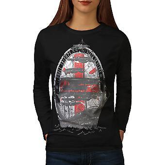 Ship Flag Sea Fashion Women BlackLong Sleeve T-shirt | Wellcoda