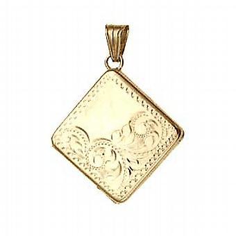 9ct Gold 22mm half hand engraved flat diamond shaped Locket