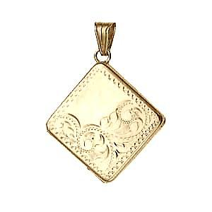 9ct Gold 22mm half hand engraved flat diamond shaped Locket