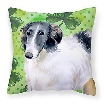 Carolines Treasures  BB9846PW1818 Borzoi St Patrick's Fabric Decorative Pillow