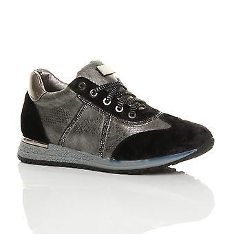 Ajvani womens low wedge heel lace up velvet diamante trainers sneakers