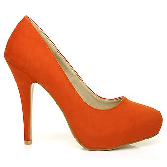 H251 Orange Faux Suede Stiletto High Heel Concealed Platform Court Shoes