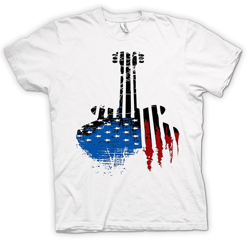 Mens T-shirt - Gibson SG Guitar USA Flag - Grunge