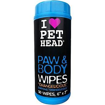 Pet Head Dog Paw & Body Wipes Pack of 50