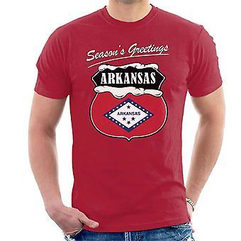 Seasons Greetings Arkansas State Flag Christmas Men's T-Shirt