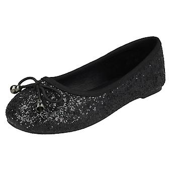 Girls Spot On Glitter Ballerinas H2488 - Black Glitter - UK Size 1 - EU Size 33 - US Size 2