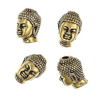 Packet 5 x Antique Gold Plated Metal Alloy Buddha Head Beads 10 x 13mm HA02495