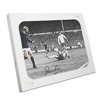 Denis Law Signed Scotland Photograph: Goal Against England In Gift Box