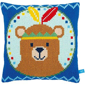 Bear With Feather Cushion Cross Stitch Kit-16