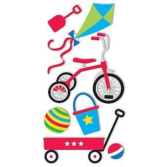 SandyLion Essentials Dimensional Stickers-Trike, Wagon & Balls