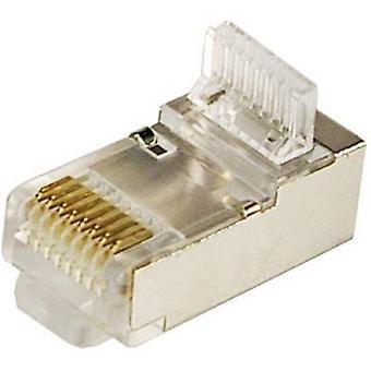 LogiLink MP0004 Plug CAT 5E Pack de 100 avec soulagement, blindés 8P8C RJ45 Plug, droite argent