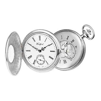 Woodford Albert Half Hunter Swiss Pocket Watch - Silver