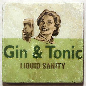 Gin And Tonic Liquid Sanity Tumbled Marble Drinks Coaster