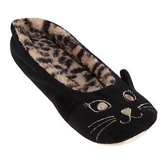 Slumberzzz Womens/Ladies Cat Ballerina Slippers