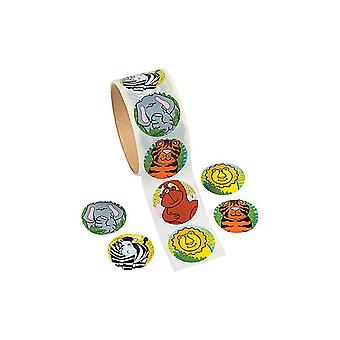 Roll of 100 Wild Animal Stickers for Kids Jungle Crafts
