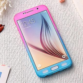 Samsung Galaxy S6 mobile phone case protective case cover tank protection glass pink / blue