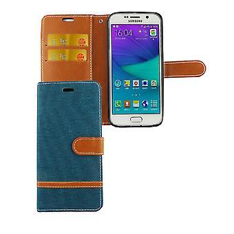 Tasche für Samsung Galaxy S6 Jeans Cover Handy Schutz Hülle Case Grün