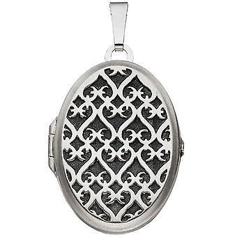 Медальон овальный кулон 925 стерлингового серебра Мэтт родиевым покрытием с сеткой
