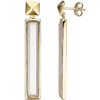 2 rosa glass øredobber øredobber gull belagt lenge 925 sterling sølv-gull