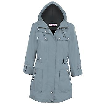 Damen auftauchen lange Ärmel abnehmbare Kapuze Dusche Beweis Damen Mantel-Jacke