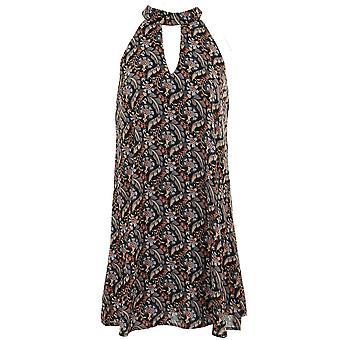 Ladies Sleeveless Chiffon Lined Blouse Flare Tunic Stripe Paisley Floral Mini Dress