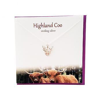 Die Silber Studio schottischen Sammlung Highland Coo Anhänger Karte