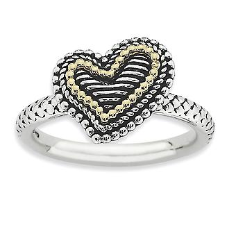 2.5mm 925 Sterling Silver Polished Antique finish and 14k Stackable Expressions Antiqued Heart Ring - Ring Size: 5 to 10