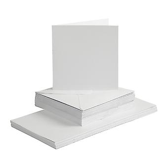 50 White 15cm Square Cards and Envelopes - Card Making Crafts