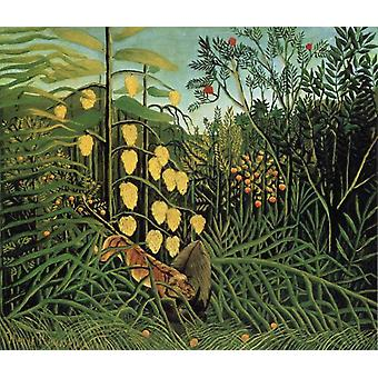 Fight Between a Tiger and a Bull, Henri Rousseau, 60 x 50 cm