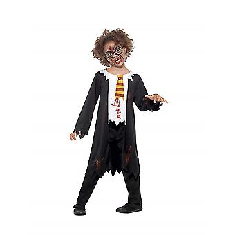 Zombie student costume kids unisex black white robe with newled shirt and tie children's costume Halloween