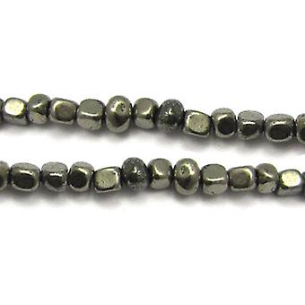 Strand 40+ Pale Gold Pyrite Approx 8mm Smooth Nugget Beads GS9081