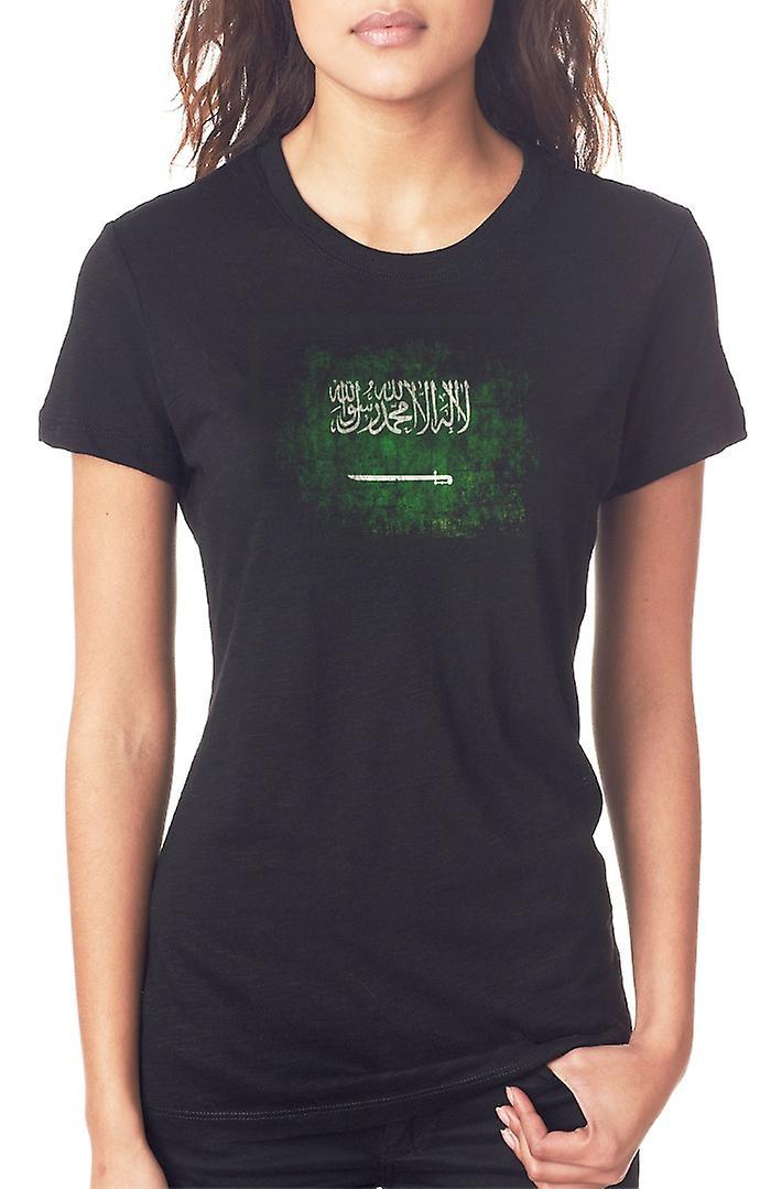 Saudia Arabia Saudita arabo Grunge Flag Ladies T Shirt