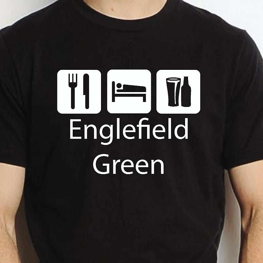 Eat Sleep Drink Englefieldgreen Black Hand Printed T shirt Englefieldgreen Town