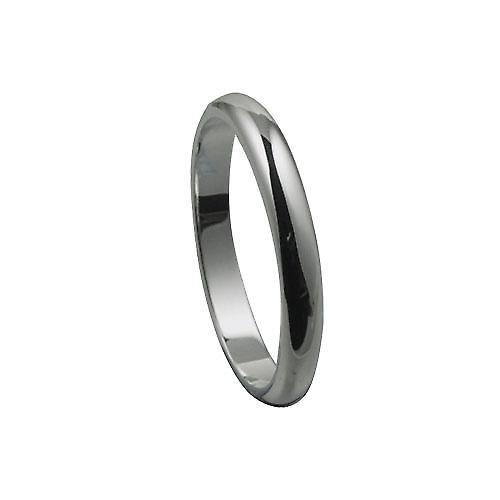 18ct White Gold 3mm plain D shaped Wedding Ring