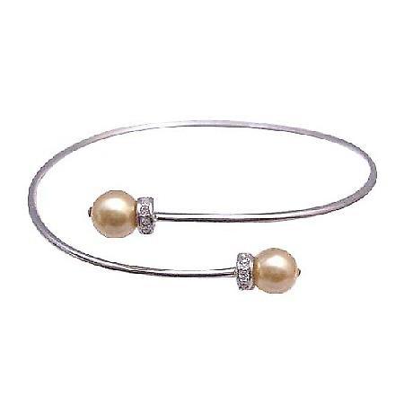 Wedding Silver Swarovski Gold Pearls Comfortable Adjustable Bracelet
