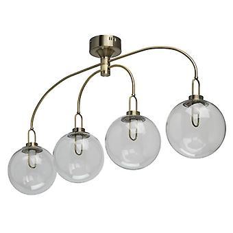 Glasberg - Antique Brass LED Four Light Semi-Flush Ceiling Light With Glass Shades 657011704