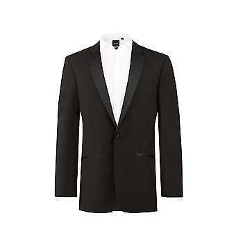 Dobell Mens Black 2 stykke Dress passer vanlig 100% ull hakk jakkeslaget