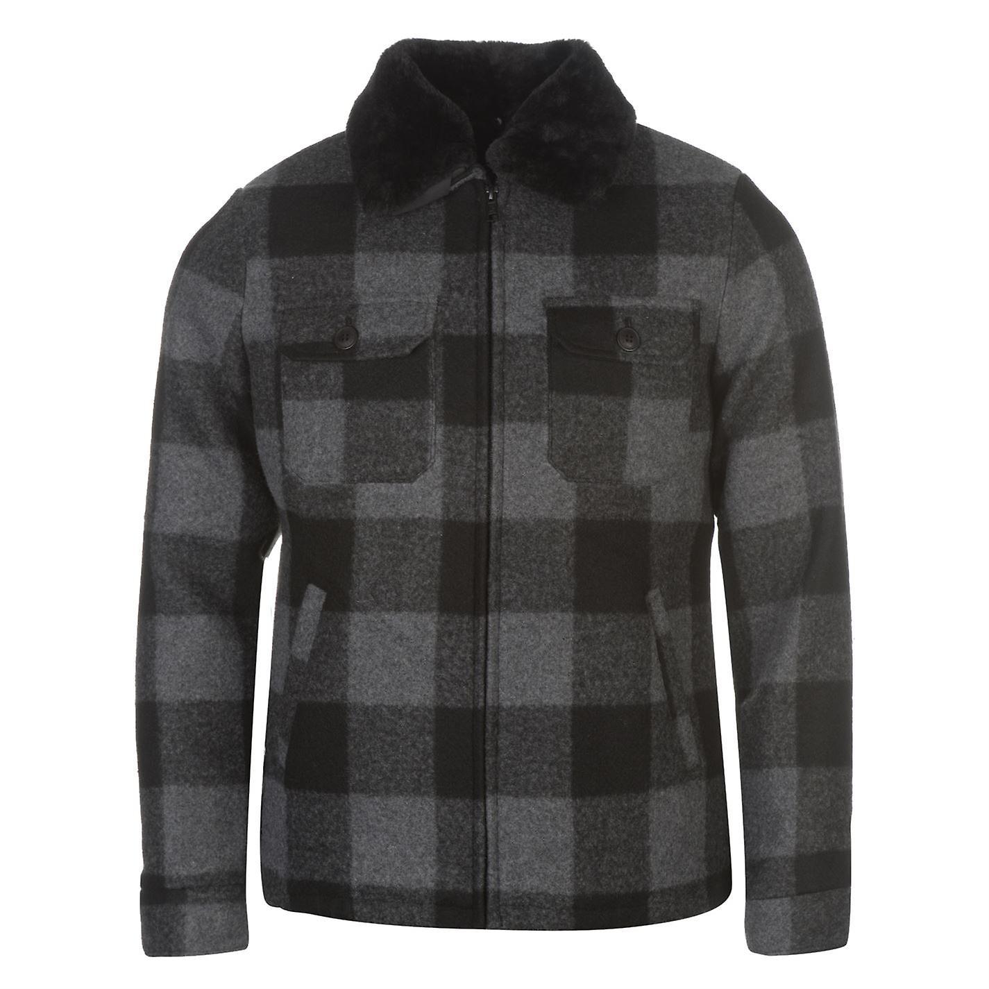 Pierre Cardin Mens Checked Jacket Peacoat Coat Top Long Sleeve Zip Full Chest