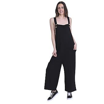 Ladies Loose Fit Cotton Jersey Dungarees - Black Lightweight One Size Wide Leg O