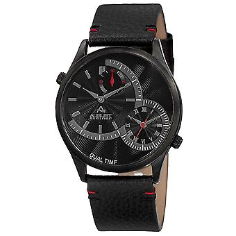 August Steiner AS8167BK Dual Time Stamped Dial Genuine Leather Strap