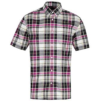 Fred Perry noir Madras tartan rose chemise à manches courtes