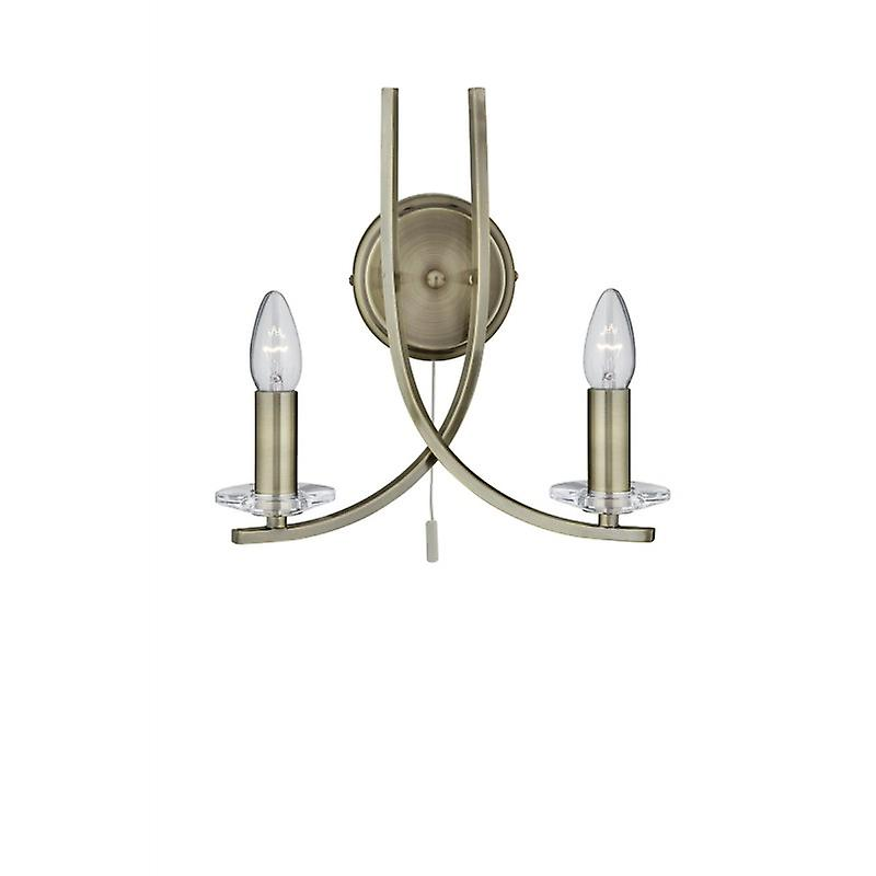 Ascona - 2 lumière Wall Bracket, Antique Brass Twist Frame With Clear Glass Sconces