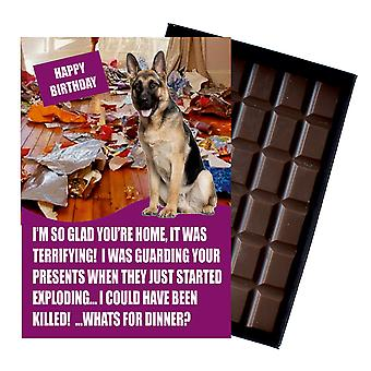 Tyska Shepherd Födelsedagspresenter för hundälskare boxed choklad gratulationskort present