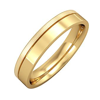 Jewelco London 9ct Yellow Gold - 4mm Flat-Court with Fine Groove Wedding Ring