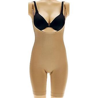 Women with Control Shaper Open Bust Body Suit Shaper Nude Beige A269821