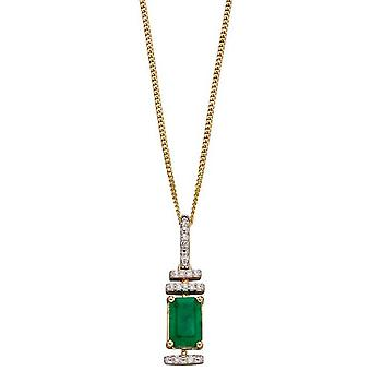 Elements Gold Emerald and Diamond Deco Pendant - Green/Gold/Silver
