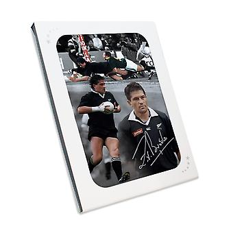 Zinzan Brooke Signed New Zealand All Blacks Rugby Photo In Gift Box