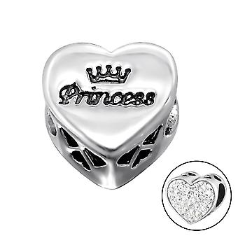 Heart Princess - 925 Sterling Silver Jewelled Beads - W10414X