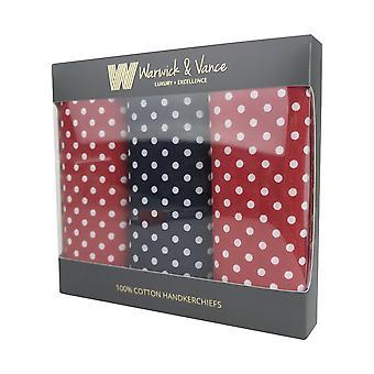 3 Pack assorterede Herre/gentlemens lommetørklæder bomuld plettet gaveæske 55x55cm